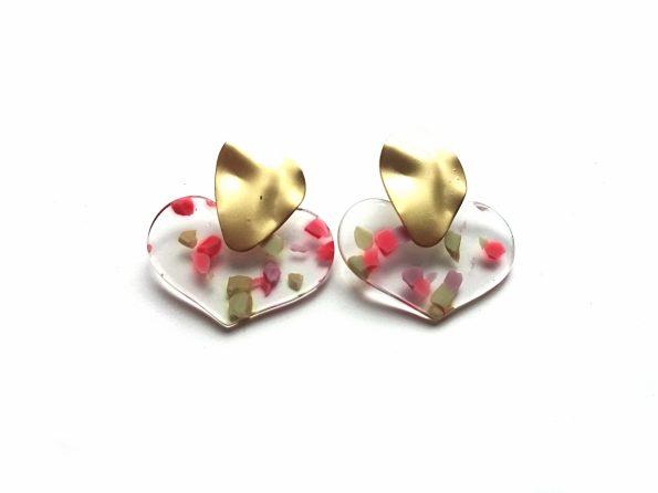 Epoksidinės dervos auskarai širdelės su auksuotu užsegimu