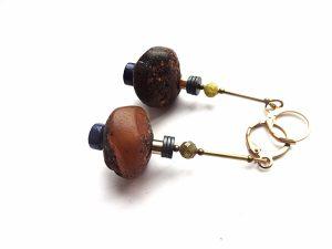 Grubaus gintaro, lazurito,prenito, hematito ir sidabruoto žalvario auskarai
