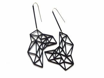 Geometriniai asimetriškis juodi kabantys auskarai