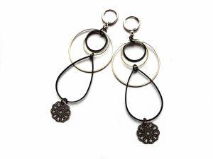 Geometriniai minimalistiniai auskarai iš natūralaus, sidabruoto ir oksiduoto žalvario